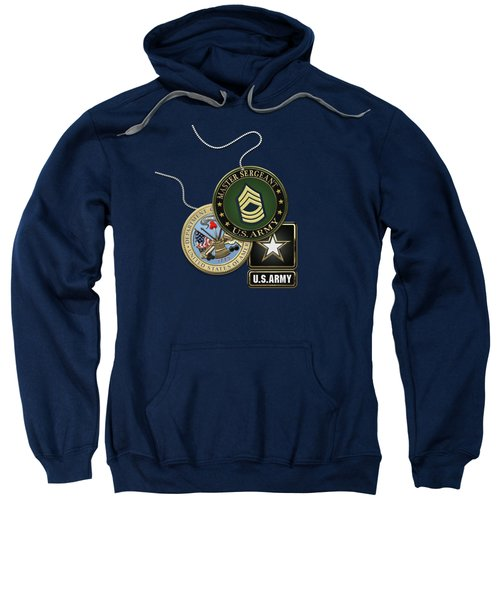U. S. Army Master Sergeant   -  M S G  Rank Insignia With Army Seal And Logo Over Blue Velvet Sweatshirt