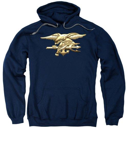 U. S. Navy S E A Ls Emblem On Blue Velvet Sweatshirt