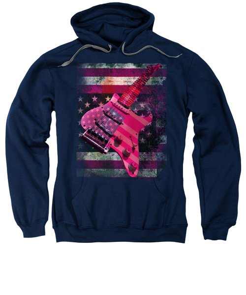 Usa Pink Strat Guitar Music Sweatshirt