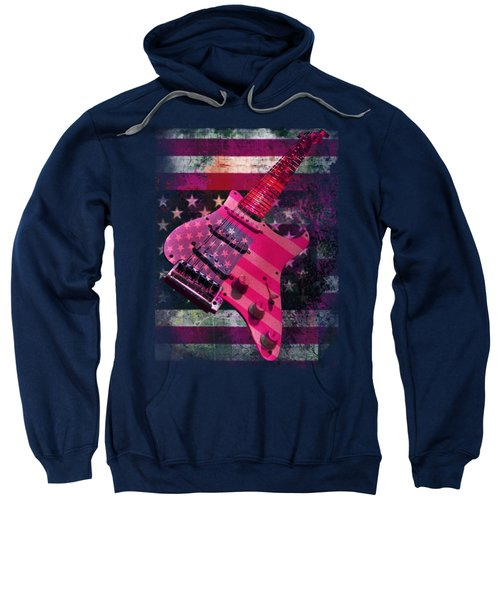 Sweatshirt featuring the photograph Usa Pink Strat Guitar Music by Guitar Wacky