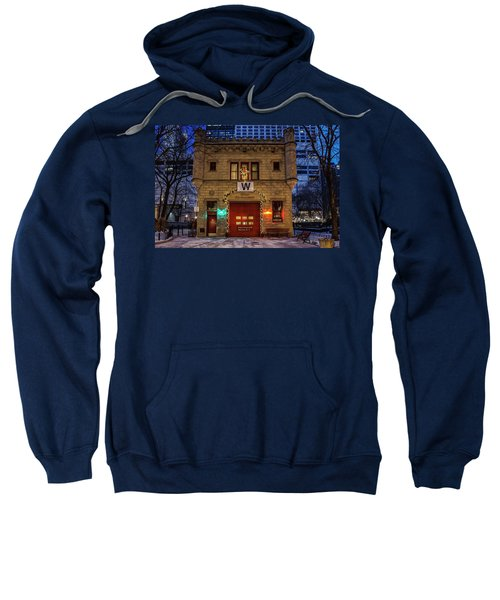 Vintage Chicago Firehouse With Xmas Lights And W Flag Sweatshirt