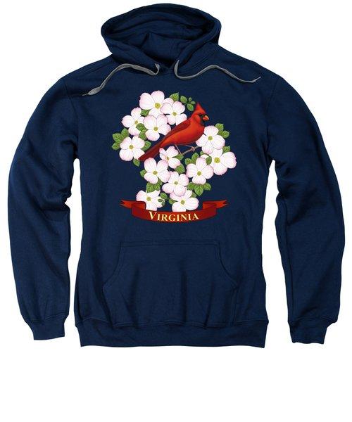 Virginia State Bird Cardinal And Flowering Dogwood Sweatshirt