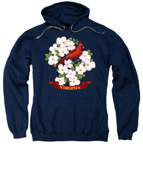 Virginia State Bird Cardinal And Flowering Dogwood Sweatshirt