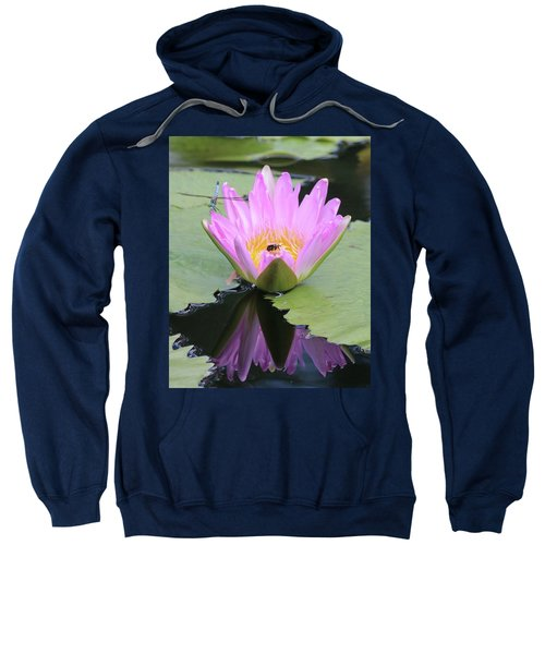 Water Lily With Dragon Fly Sweatshirt