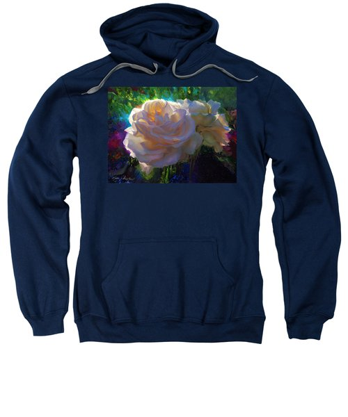White Roses In The Garden - Backlit Flowers - Summer Rose Sweatshirt