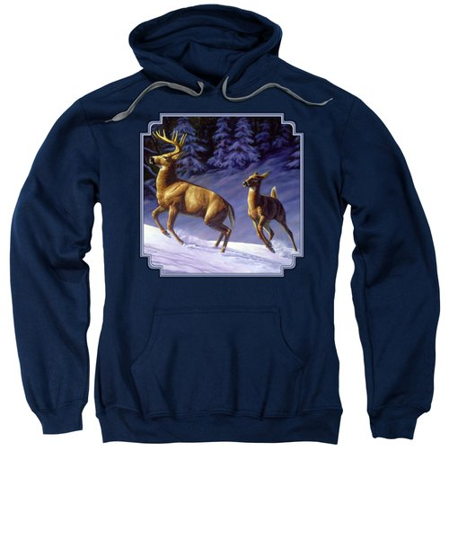 Whitetail Deer Painting - Startled Sweatshirt by Crista Forest