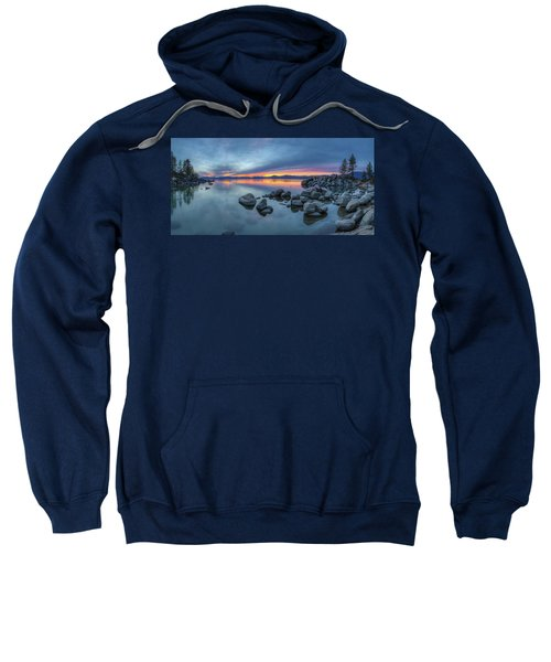 Colorful Sunset At Sand Harbor Panorama Sweatshirt