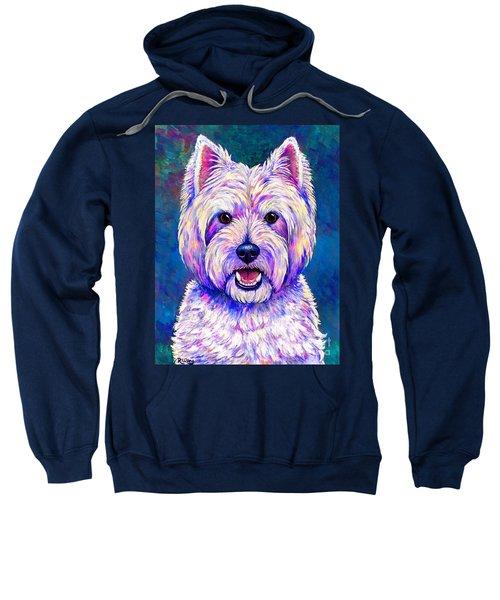Colorful West Highland White Terrier Blue Background Sweatshirt