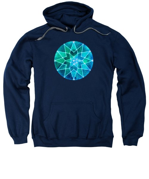 Cosmic Geometric Seed Of Life Crystal Turquoise Lotus Star Mandala Sweatshirt