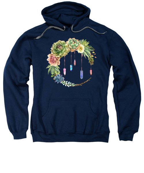 Crystal Crescent Moon With Lovely Succulents Sweatshirt