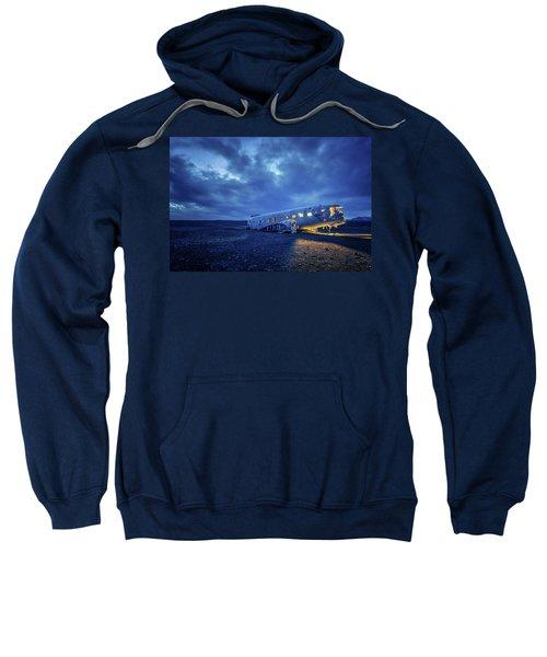 Dc-3 Plane Wreck Illuminated Night Iceland Sweatshirt