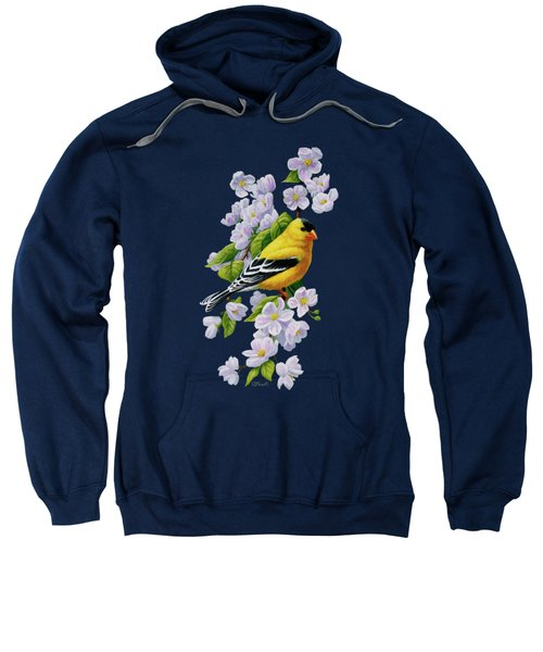 Male American Goldfinch And Apple Blossoms Sweatshirt