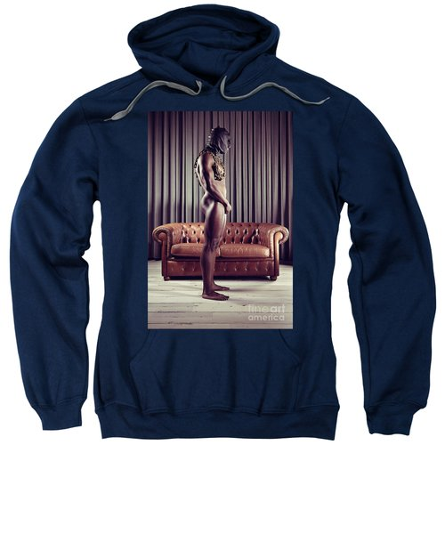 Naked Man With Mask Standing In Front Of A Sofa Sweatshirt