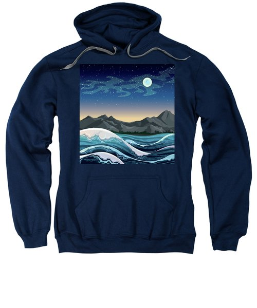 Night Sea With Waves And Mountains On A Starry Sky With Full Moon. - Vector  Sweatshirt