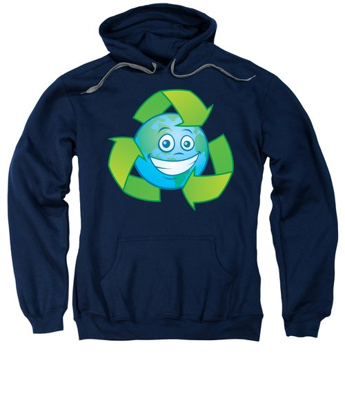 Planet Earth Recycle Cartoon Character Sweatshirt