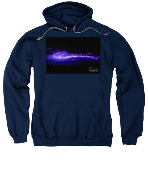 Rays In A Night Storm With Light And Clouds. Sweatshirt