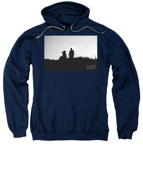Silhouette Of Couple In Love With Wedding Couple On Top Of A Hil Sweatshirt