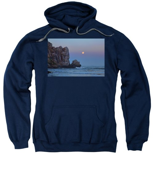 Snow Moon And Morro Rock Sweatshirt