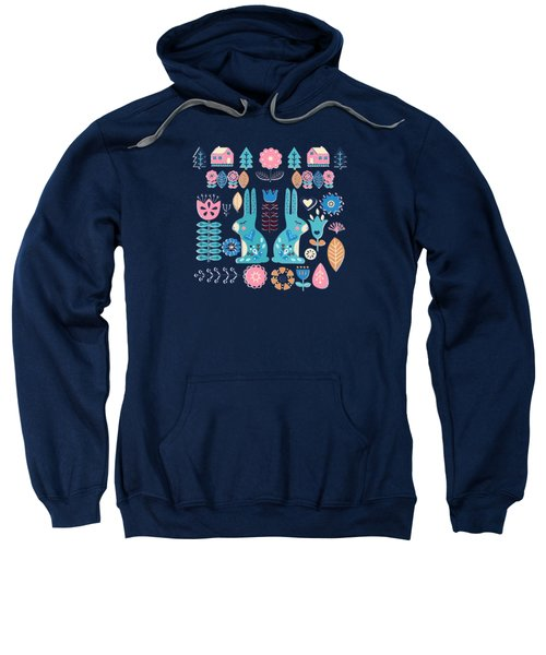 Soft And Sweet Scandinavian Bunny Rabbit Folk Art Sweatshirt