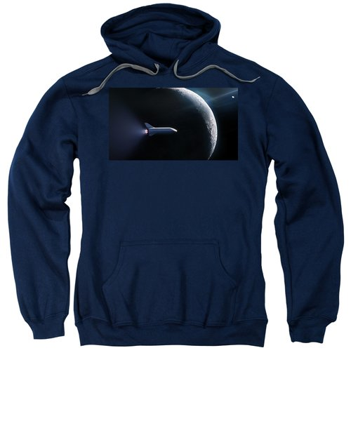 Spacex Bfr In Orbit Around The Moon  Sweatshirt