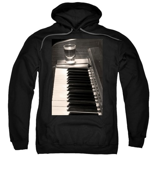 A Shot Of Bourbon Whiskey And The Bw Piano Ivory Keys In Sepia Sweatshirt