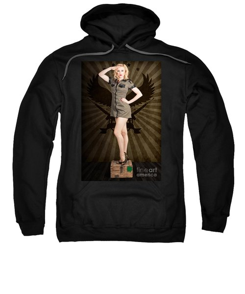Attractive Blond Pin-up Army Girl. Military Salute Sweatshirt