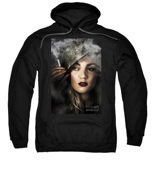 Attractive Pinup Woman In 1940 Military Style Sweatshirt