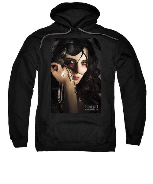 Beautiful Female Fashion Model In Luxury Jewellery Sweatshirt
