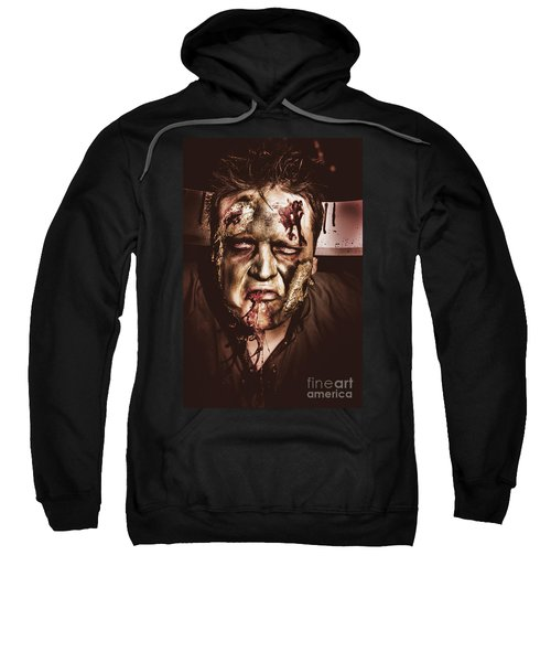 Dark Scary Halloween Zombie With Bloody Mouth Sweatshirt