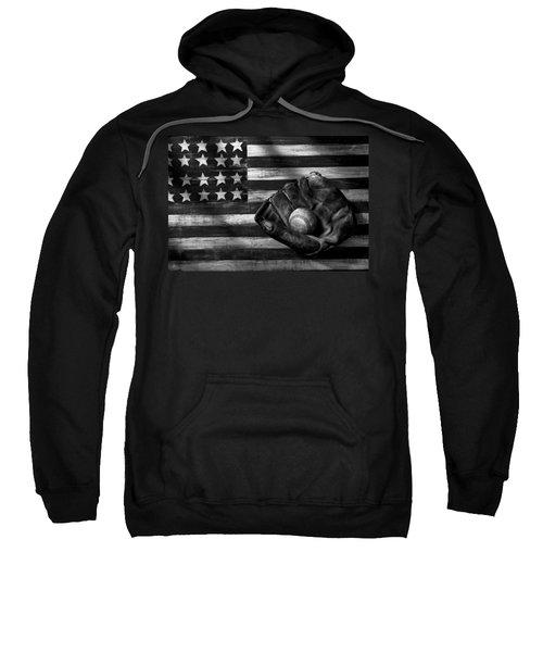 Folk Art American Flag And Baseball Mitt Black And White Sweatshirt