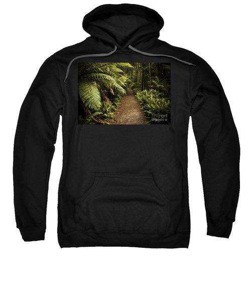 Lush Green Tasmanian Forest Trail In Strahan Sweatshirt