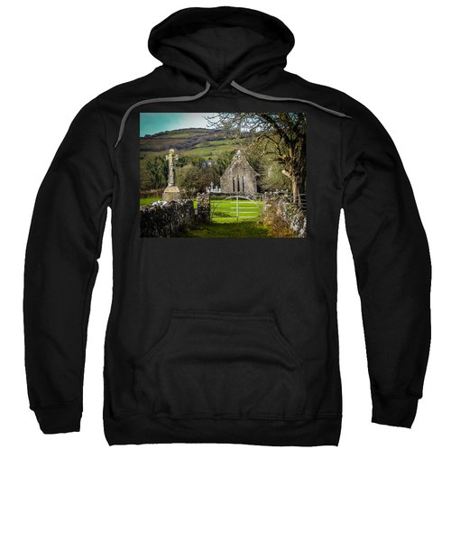 Sweatshirt featuring the photograph 12th Century Cross And Church In Ireland by James Truett