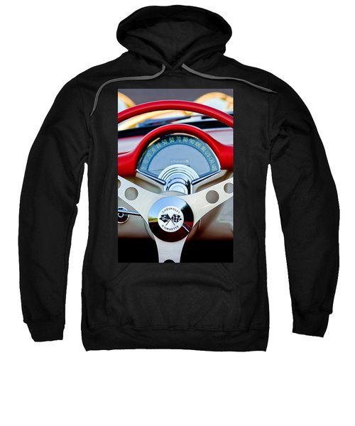 1957 Chevrolet Corvette Convertible Steering Wheel Sweatshirt