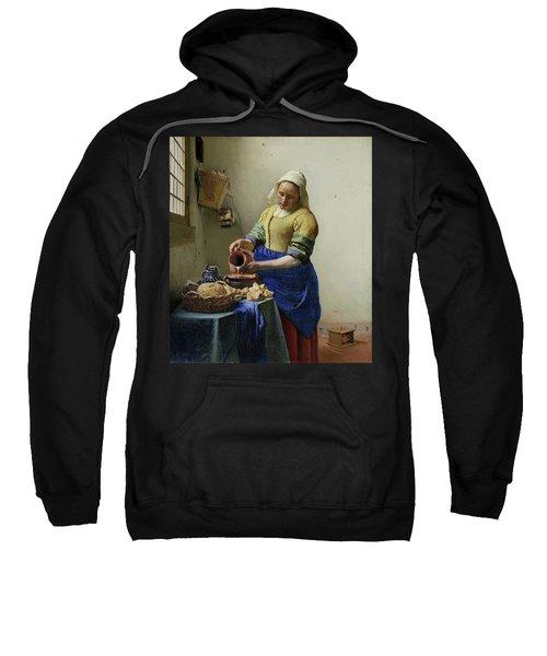 Sweatshirt featuring the painting The Milkmaid  by Johannes Vermeer