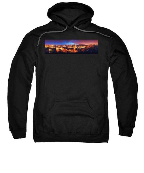 High Angle View Of A City Lit Sweatshirt
