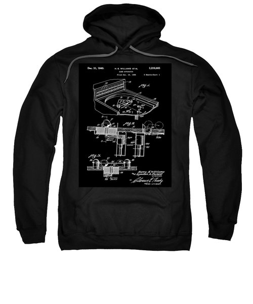 Pinball Machine Patent 1939 - Black Sweatshirt by Stephen Younts