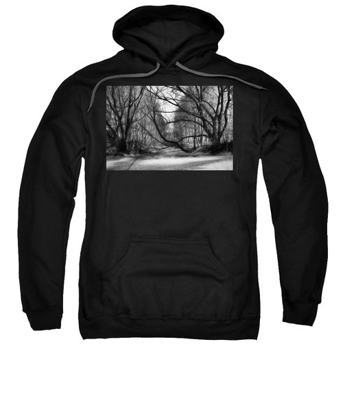 9 Black And White Artistic Painterly Icy Entrance Blocked By Braches Sweatshirt