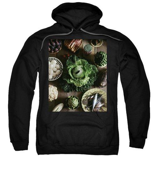 A Mixed Variety Of Food And Ceramic Imitations Sweatshirt by Fotiades
