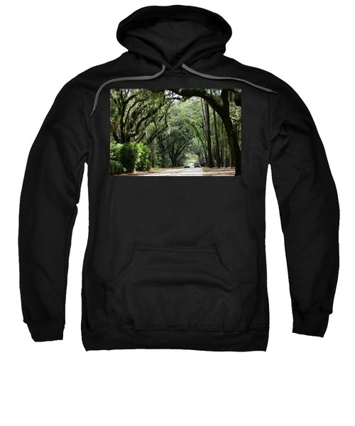 Sweatshirt featuring the photograph A Pretty Tree Covered Road Somewhere On Hilton Head Island by Kim Pate