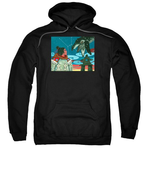 Sweatshirt featuring the painting A Study For Whale Dreamer by Chholing Taha