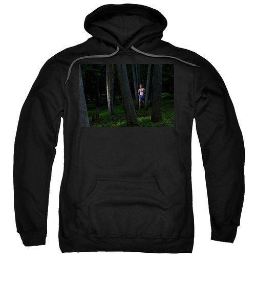 A Woman Trail Running In The Forests Sweatshirt
