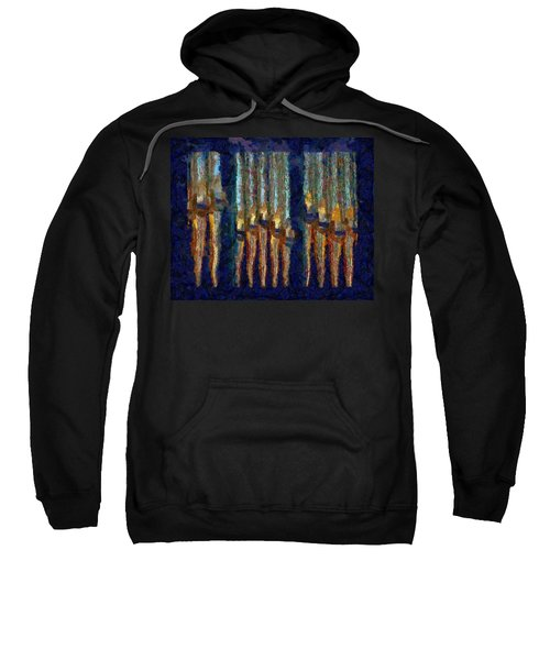 Abstract Blue And Gold Organ Pipes Sweatshirt