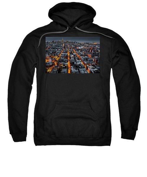 Aerial View Of New York City At Night Sweatshirt