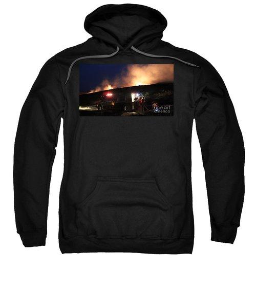 An Engine Crew Works At Night On White Draw Fire Sweatshirt