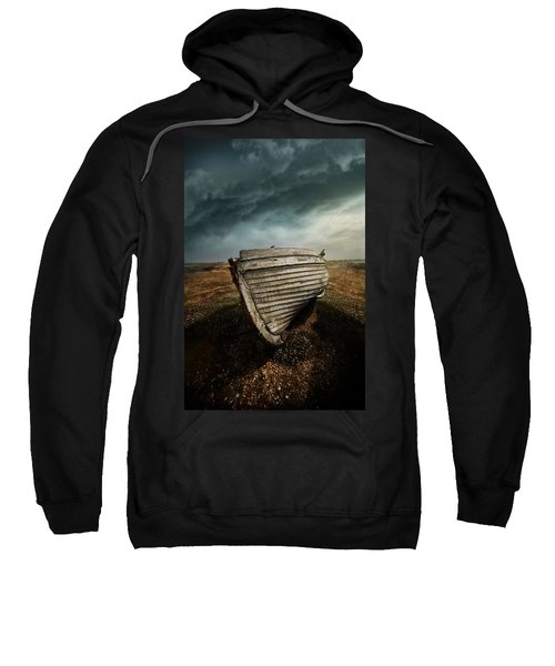 An Old Wreck On The Field. Dramatic Sky In The Background Sweatshirt