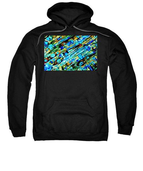 Aqua Brown Jade Gold Abstract Alcohol Inks Sweatshirt
