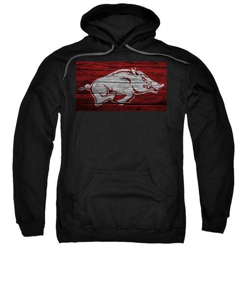 Arkansas Razorbacks On Wood Sweatshirt by Dan Sproul