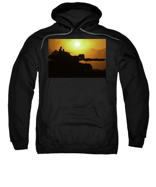 Army Tank With Camouflage In Training Sweatshirt