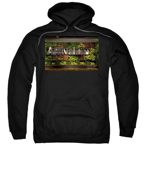Arrival Sign Arrow And Flowers At Singapore Changi Airport Sweatshirt