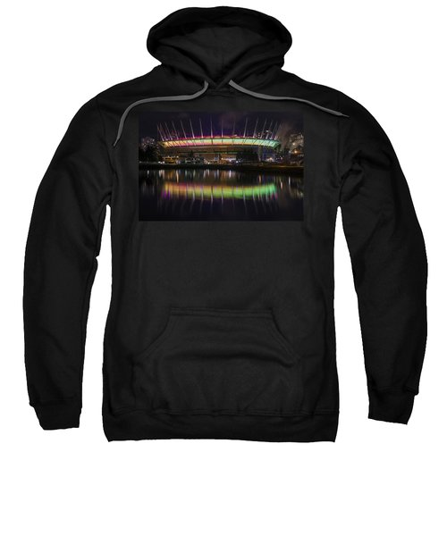 Sweatshirt featuring the photograph Bc Place Greens And Yellows by Ross G Strachan